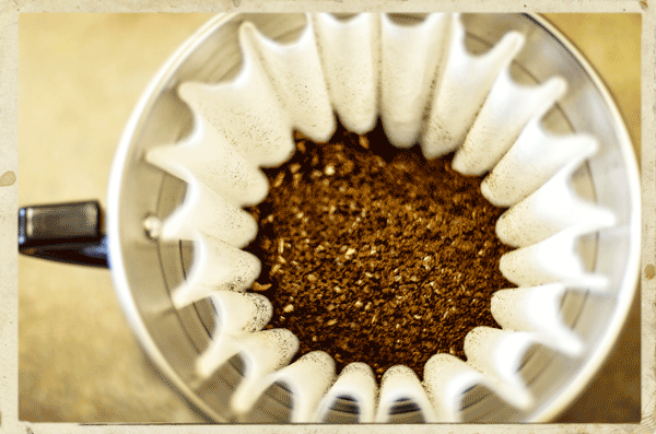 Ground coffee seen from above in a kalita wave manual brewer