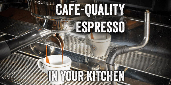 a double shot of espresso drips out of a machine and into a ristretto cup with text that says Cafe-Quality Espresso In Your Kitchen