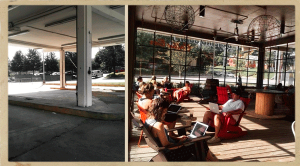 Ponce City Market, Jamestown, Dancing Goats Coffee Bar, Atlanta, Old Fourth Ward, Before and After