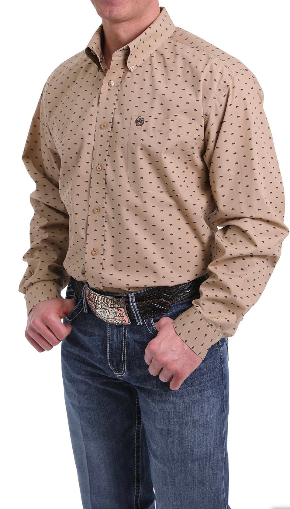 Cinch Khaki Bison Print LS