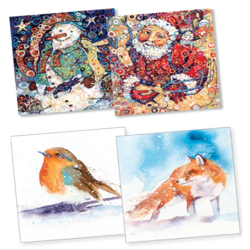 10x 100% Recycled Christmas Cards - Various Designs