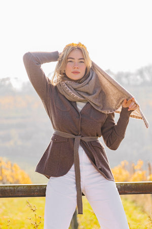 Cashmere-Schal Taupe-Rosa