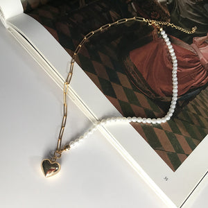 Heart Pendant Beaded Chain Necklace