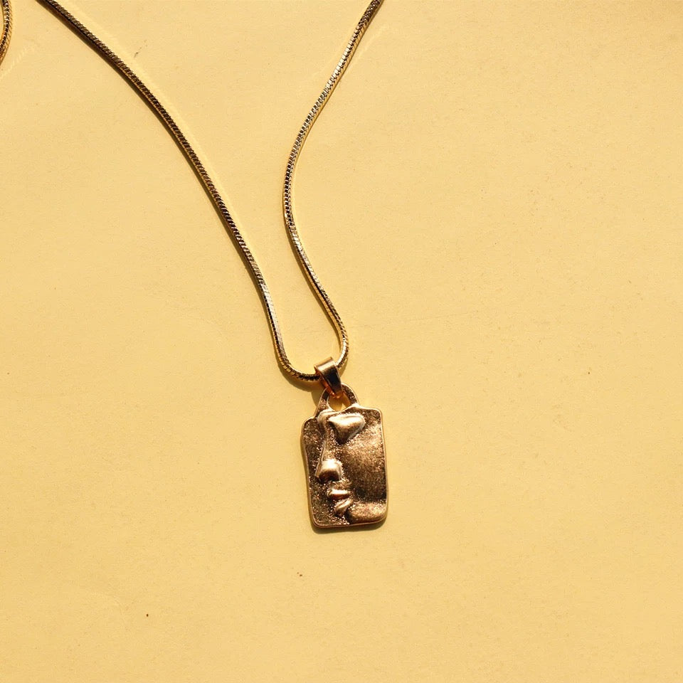 Panacea Abstract Faces Necklace