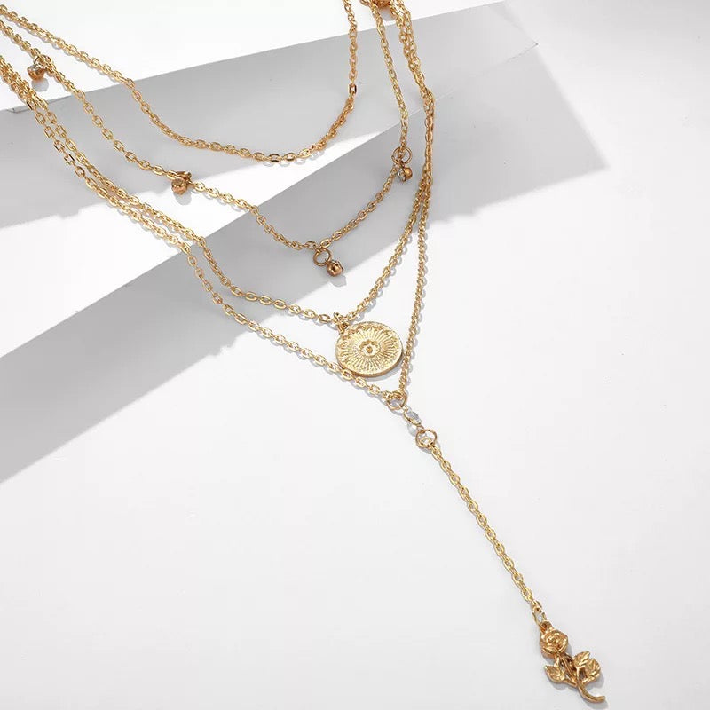 Layered Elegance - A Multilayered Rose Necklace