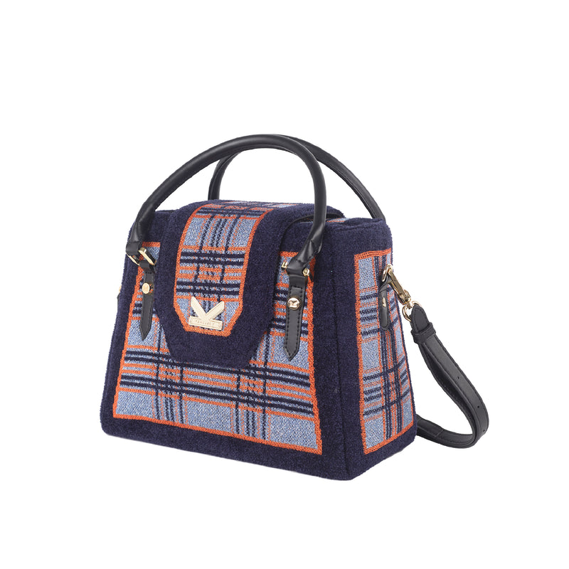 Grunge Series British style Check Crossbody Bag Blue
