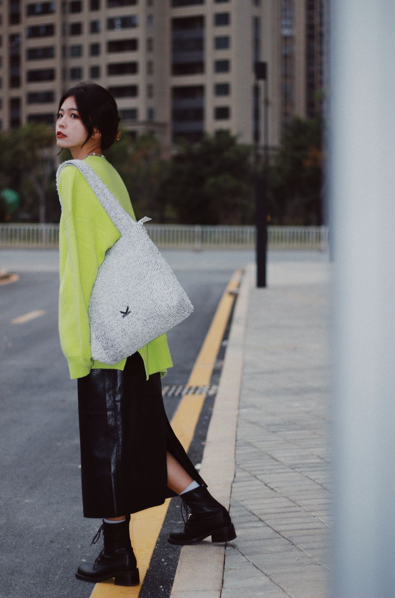 The TO。TE Series Shopper Snow Flake Tote Mélange Grey