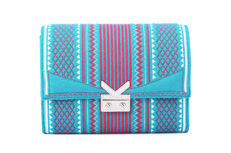 Crackles-Kaleidoscope Series-Embellish Graphic Crossbody bag Lake Blue