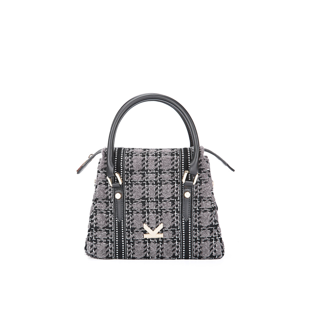 Grunge Check Crossbody Bag Grey