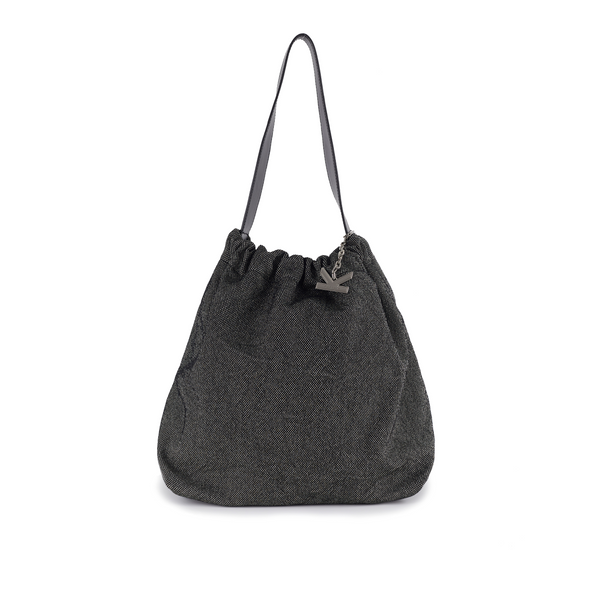 Crackles Series-Metal Basket Bag  Black