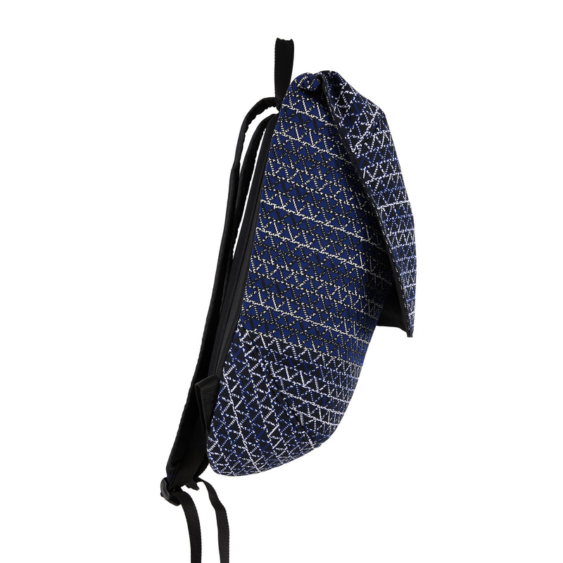 The TO。TE Series- Jacquard Flap-Top Backpack Navy