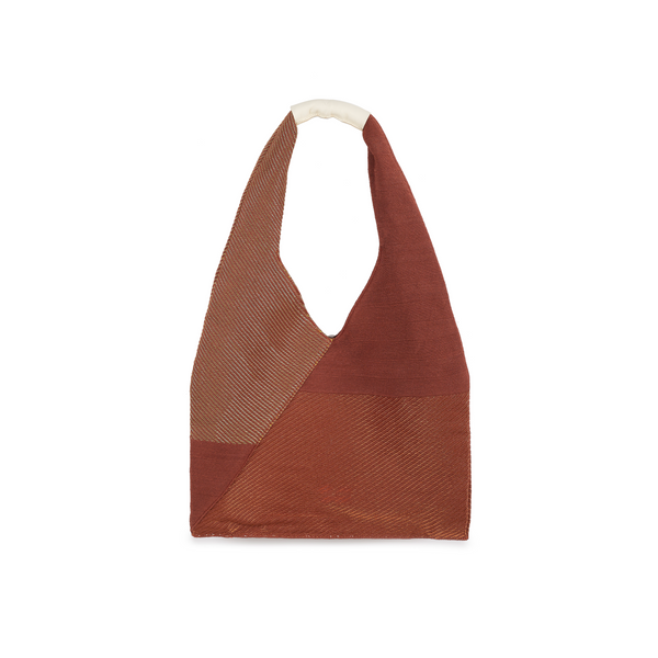 Crackles Series Metal Triangle Tote Brown Amber