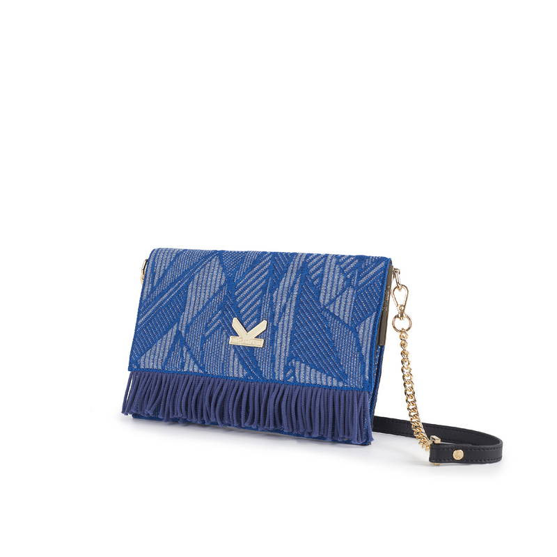 Secret Garden Floral Fringe Crossbody Bag Lake Blue