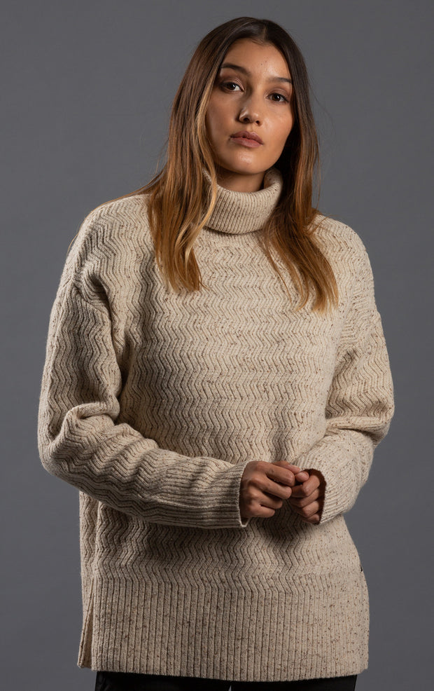 7GG LAMBSWOOL TWEED TURTLENECK