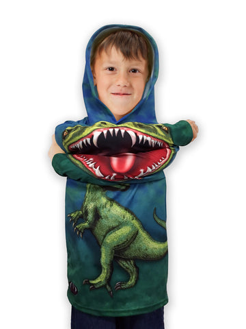 NEW!!! MOUTHMAN® ROCKIN' RAPTOR Dino Hoodie Sport Shirt | Youth unisex