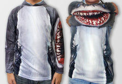 Realistic 3D Shark Hoodie Shirt by Mouthman