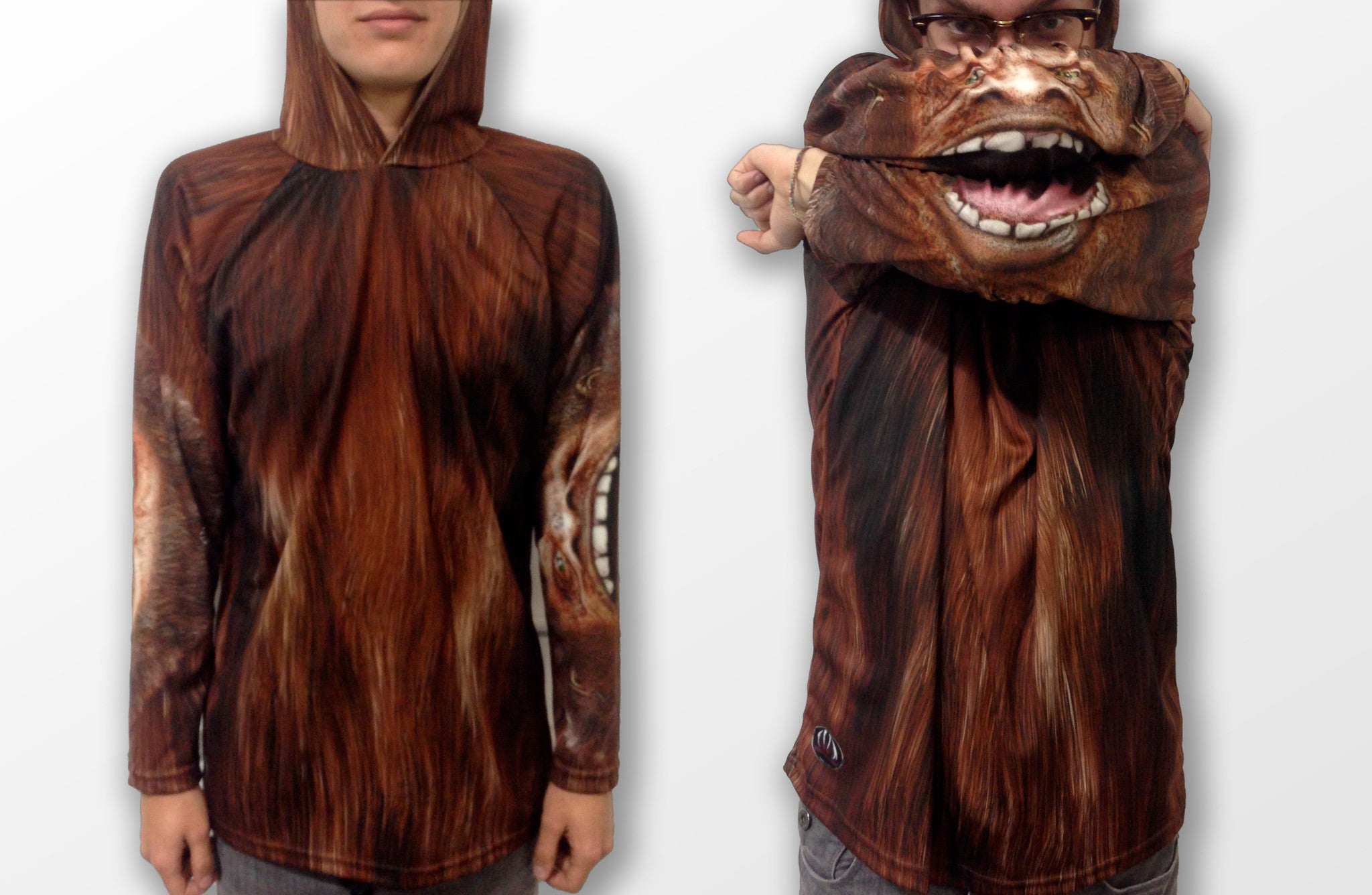 Bigfoot Hoodie Shirt with Bigfoot mouth on the sleeves