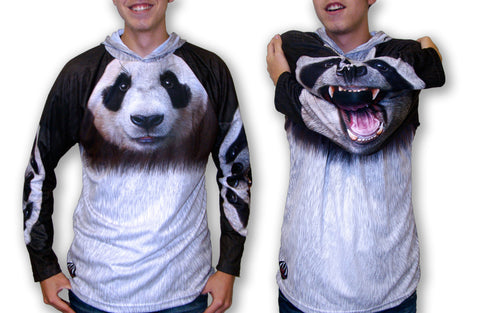 Giant faced Panda Mouthman chomp hoodie shirt front view of arms up and arms down