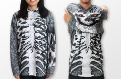 adult size Mouthman Skeleton chomp hoodie shirt grey and white