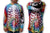 multicolored Mouthman tie dye skeleton with mouth on sleeves detail