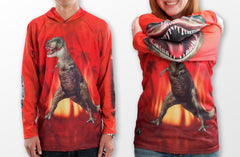 T-rex dinosaur mouth on sleeves hoodie shirt sleeves
