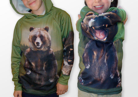 MOUTHMAN® Grizzly Bear Hoodie Chomp Shirt  Tots/Youth/Adults - unisex $34.99 - $48.99+