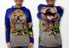 Bulldog on skateboard Mouthman hoodie shirt front view