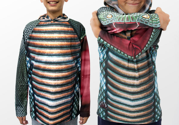Cool Realistic Cobra Snake Mouthman Hoodie Shirt- Front view sleeves.