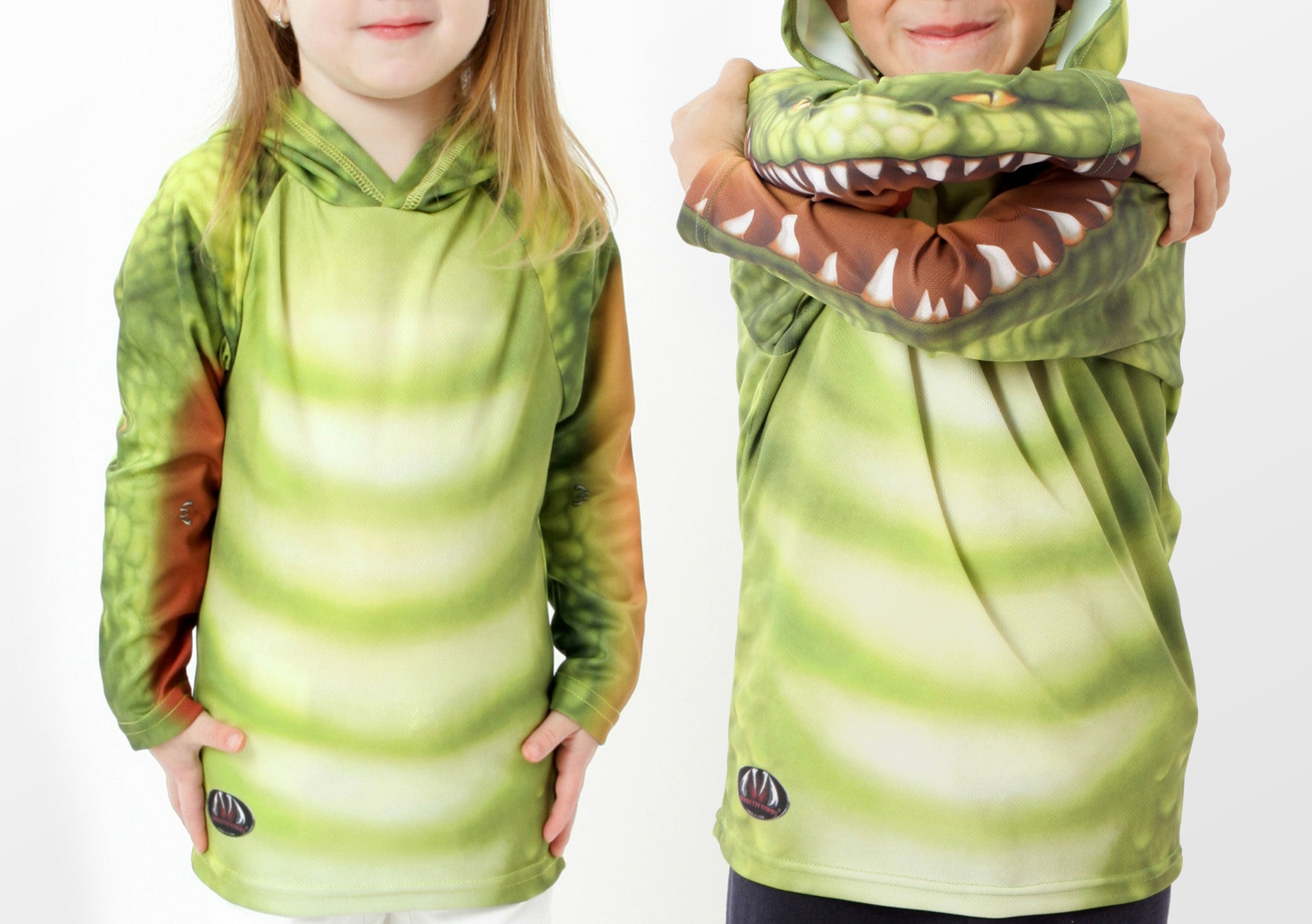 Gator Chomp hoodie- front view green