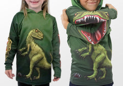Raptor dinosaur hoodie shirt arms up and down views