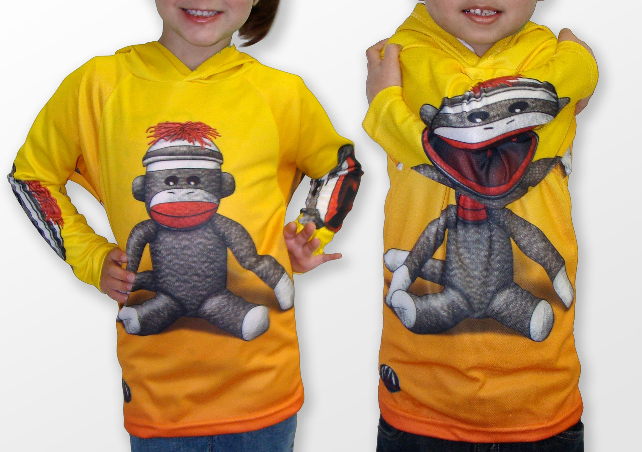 Sock Monkey Hoodie shirt for kids and adults by MOUTHMAN® Made in ...