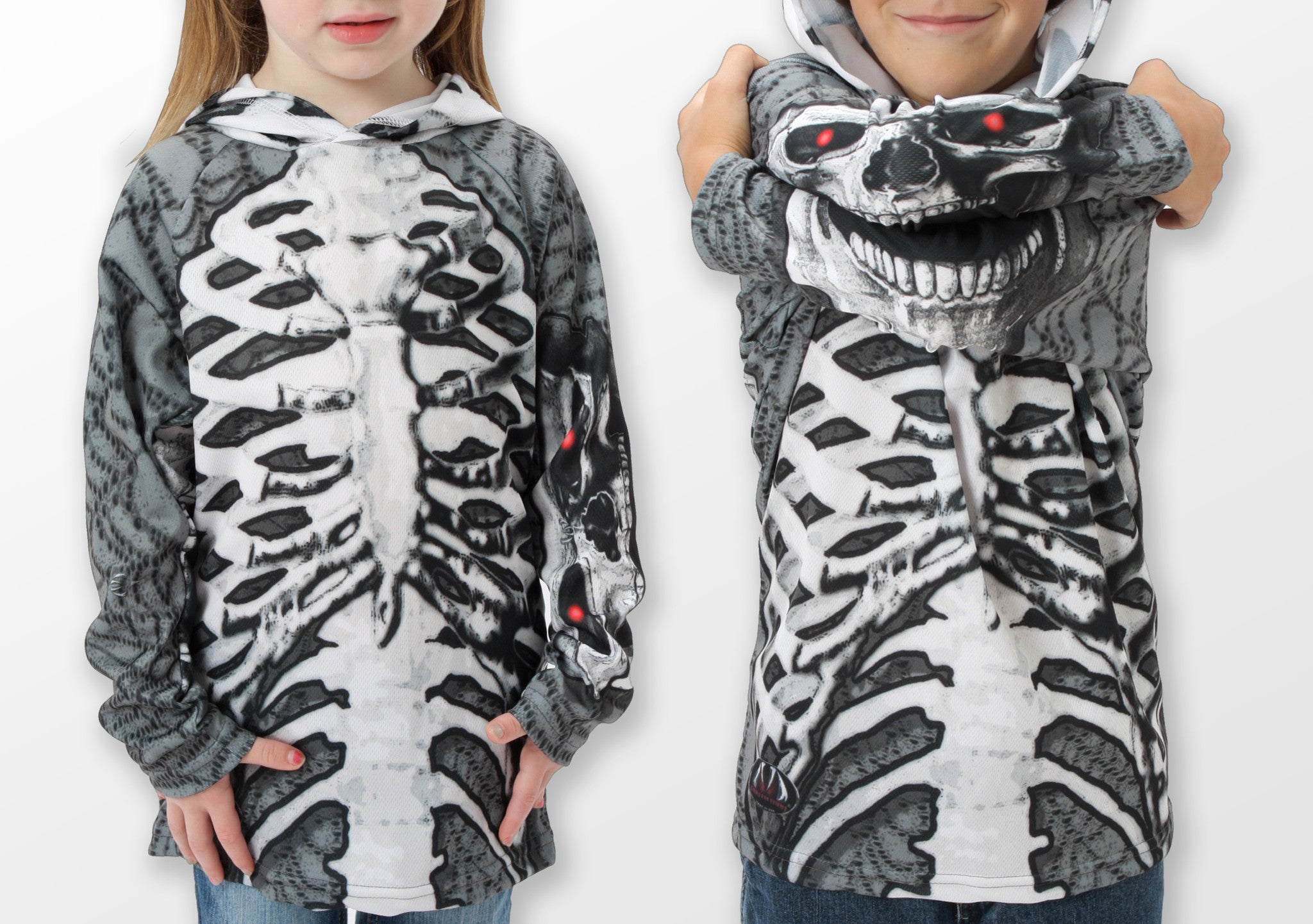 grey and white skeleton hoodie shirt showing mouth on sleeves