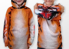 Bengal Tiger chomping hoodie shirt by Mouthman