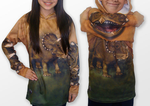 MOUTHMAN® Triceratops Hoodie Sport Shirt  Tots/Youth/Adults -unisex $34.99 - $48.99+
