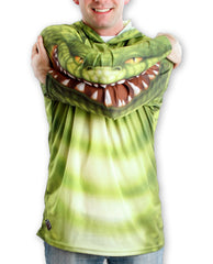 Alligator hoodie arms with mouth -green