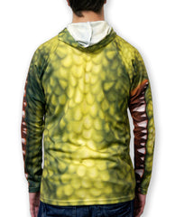 Green Alligator hoodie by Mouthman- back of shirt