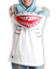 SHARK in WHITE Hoodie Sport Shirt by MOUTHMAN®