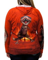 Back detail of Red T-REx hoodie shirt