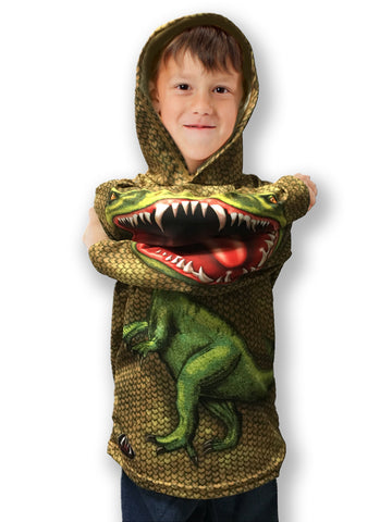 NEW!!! MOUTHMAN® SCALY RAPTOR Dino Hoodie Sport Shirt | Youth unisex