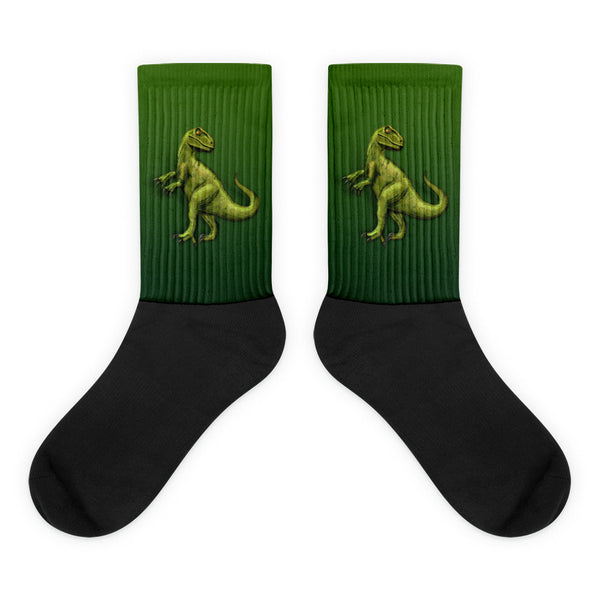Raptor in Green Black Foot Socks by Mouthman®