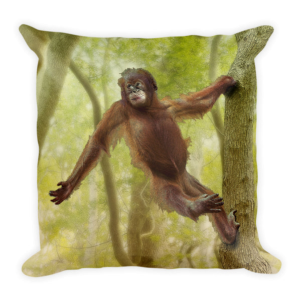 Orangutan Square Pillow by Mouthman®