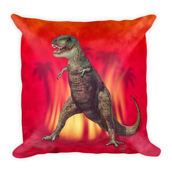 T-Rex in Red Square Pillow by Mouthman®
