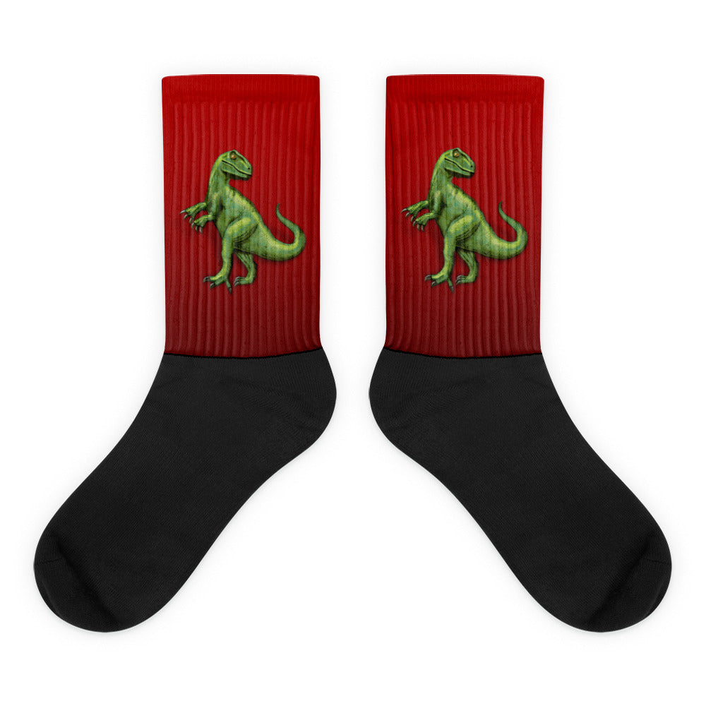 Raptor in Red Black Foot Socks by Mouthman®