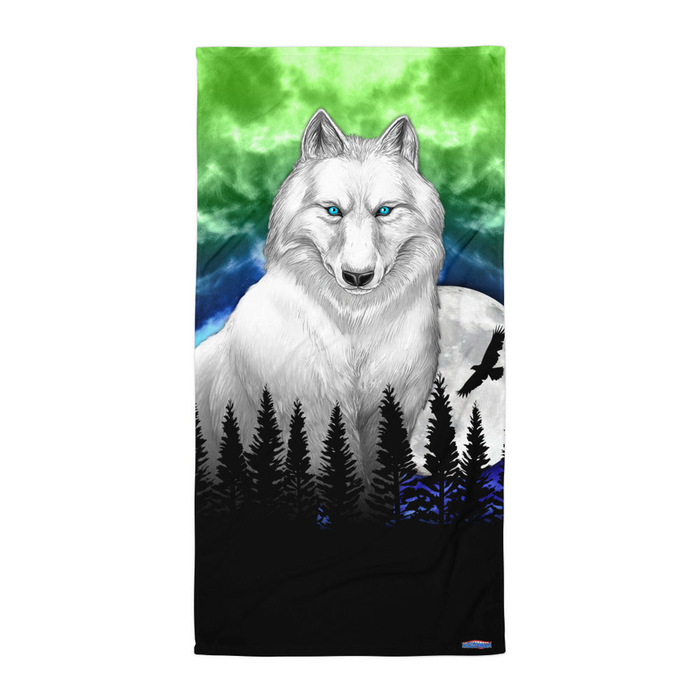 WOLF in WHITE BEACH BLANKET by MOUTHMAN®