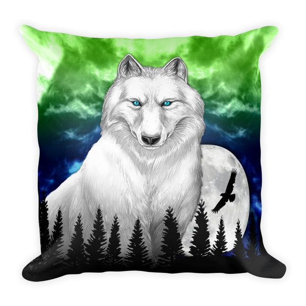 White Wolf Square Pillow by Mouthman®