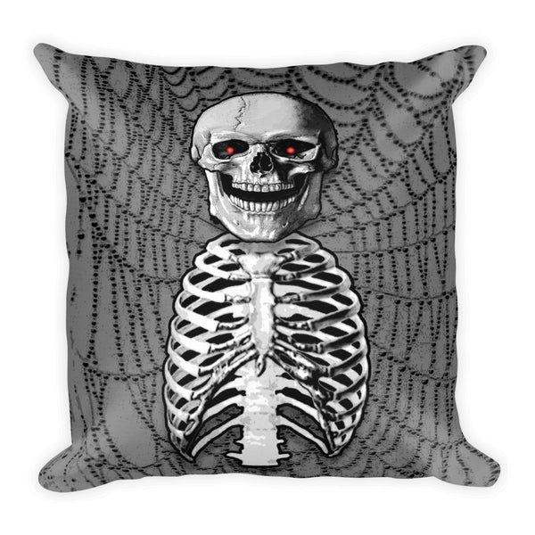 Skeleton in Grey Square Pillow by Mouthman®