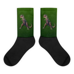 T-Rex in Green Black Foot Socks by Mouthman®