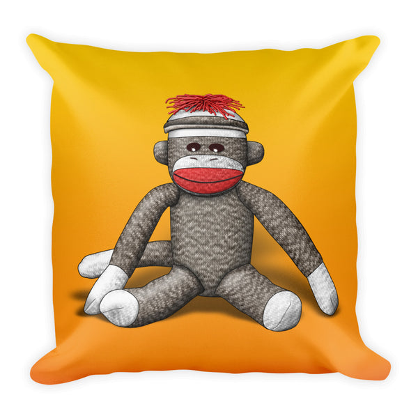 Sock Monkey Square Pillow by Mouthman®