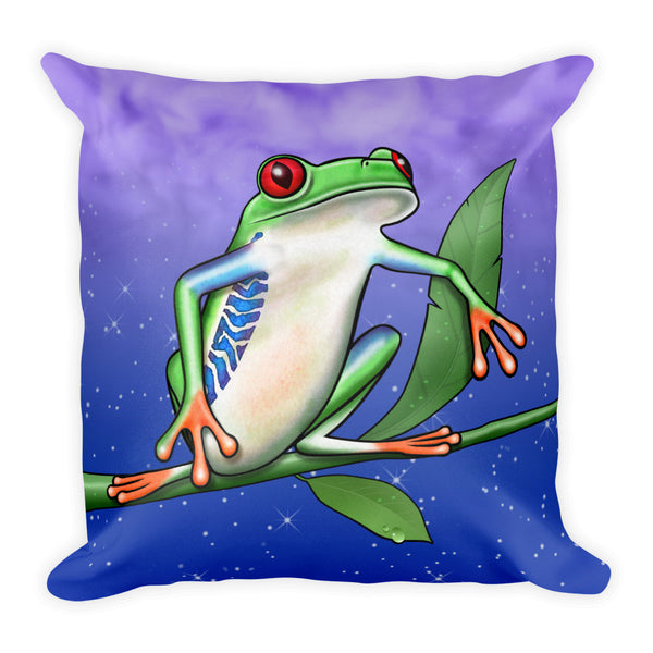 Tree Frog Square Pillow by Mouthman®