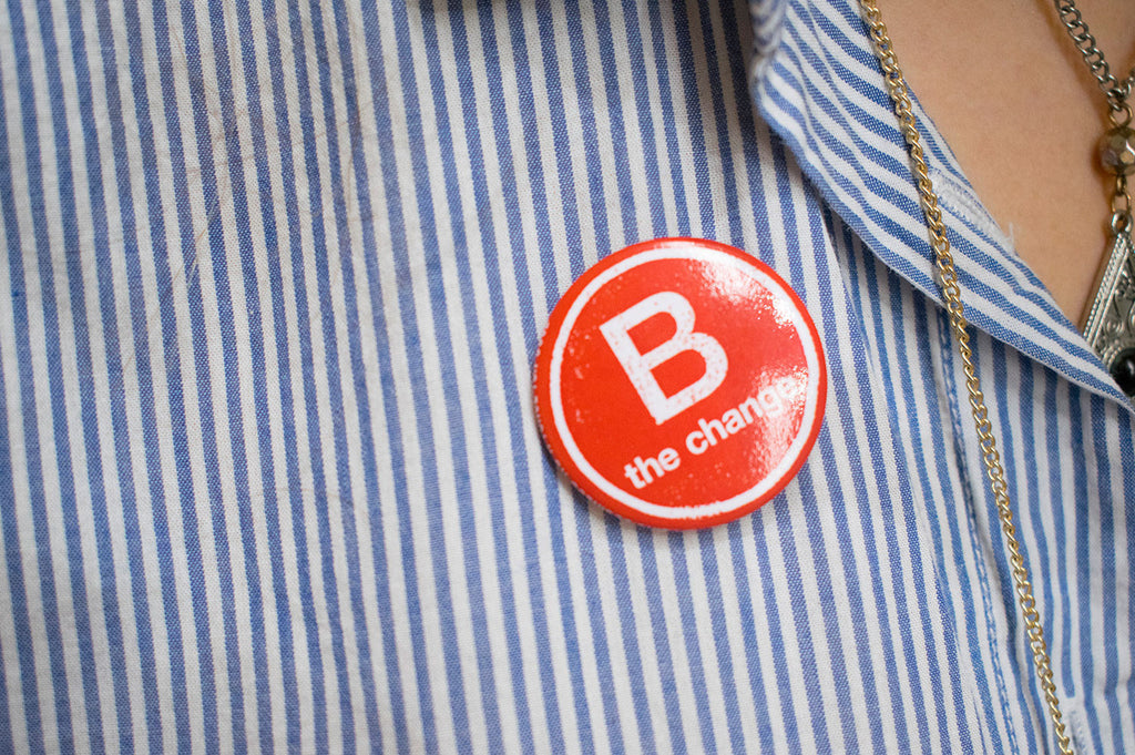 B Corp badge looking snazzy on Holly's shirt